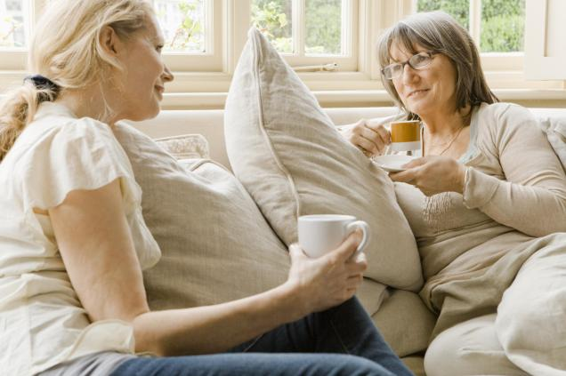 middle aged women relaxing with coffee_0